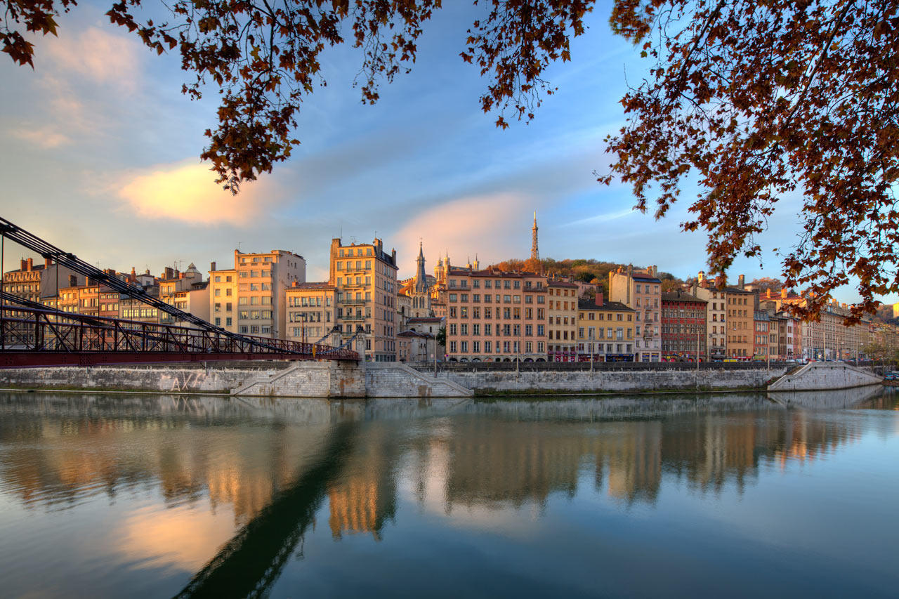 страны архитектура река Лион Франция country architecture river Lyon France без смс
